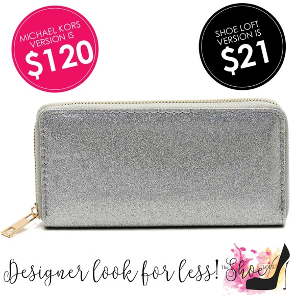 My Bag Lady Online Handbags - Glitter Wallet Choose Silver or Pewter